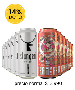 Pack  12 Cervezas Mix Stangen Weiss Bier - Steam Brew German Red